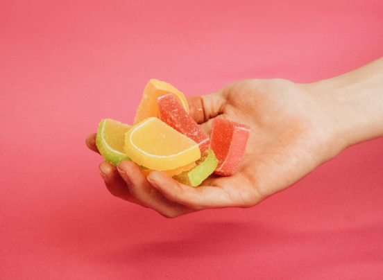 hand holding candy made with gelatine